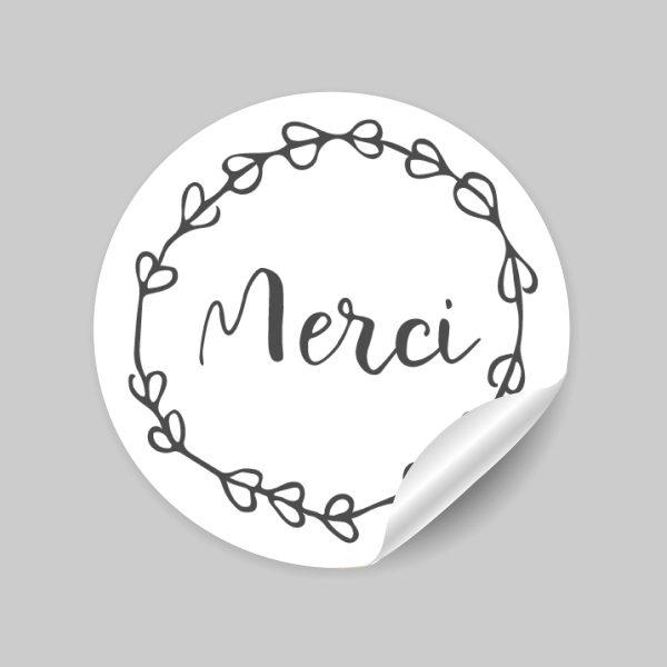"""étiquettes autocollantes """"merci"""""""