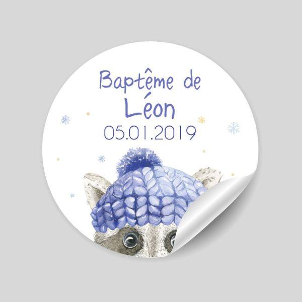 stickers baptême Léon le raton
