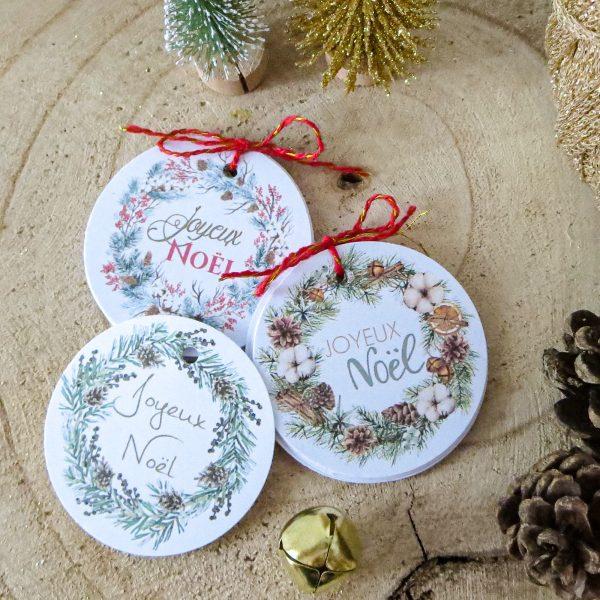 étiquettes cadeau couronne de Noël