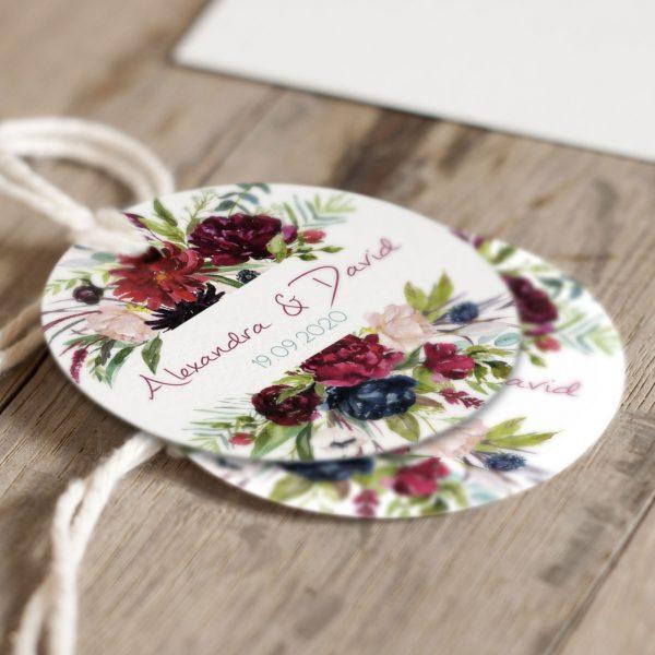Étiquettes mariage Rouge Pivoine - Arborescence