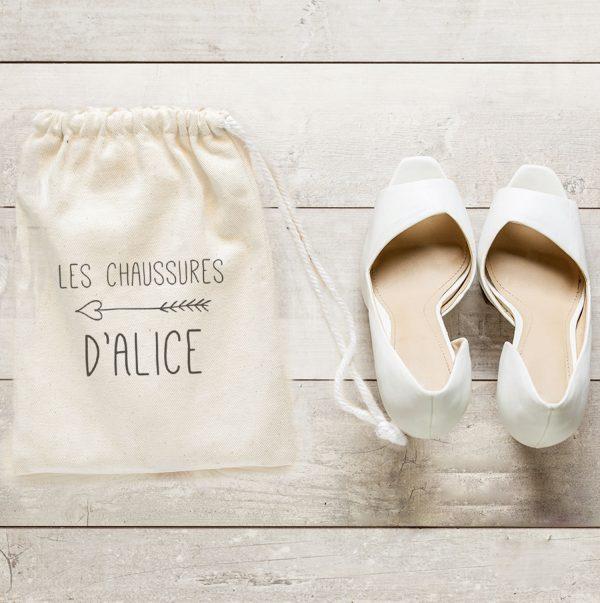 Sac à chaussures de mariée thème Champêtre chic