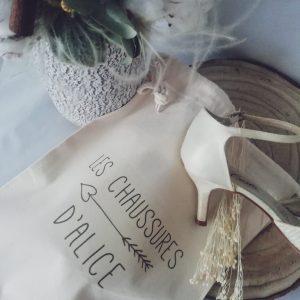 sac à chaussures de mariée personnalisé