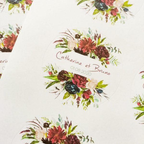stickers mariage Rouge Pivoine
