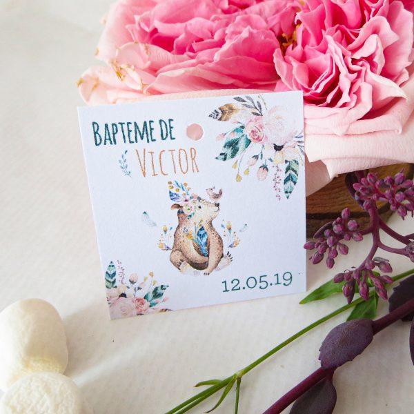 Etiquette baptême ourson