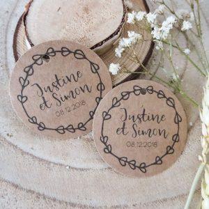 étiquettes ronde mariage rustique