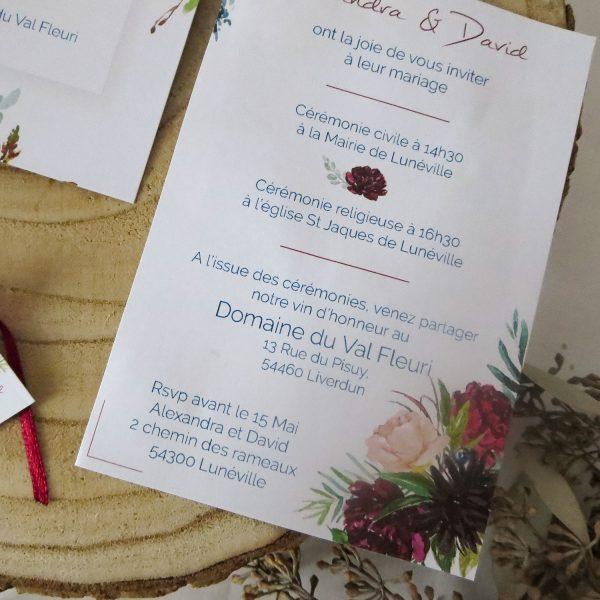 Faire-part mariage Rouge Pivoine