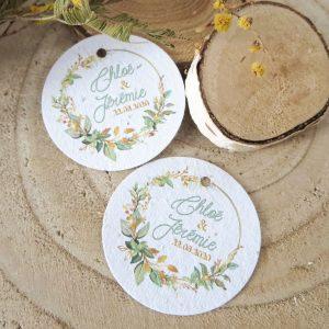 Etiquettes à planter mariage collection Bouton d'Or