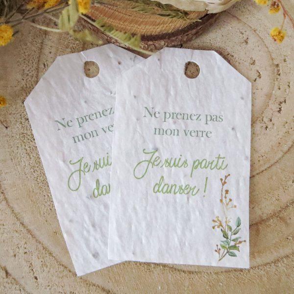 Etiquettes mariage papier ensemencé