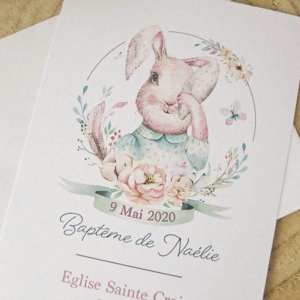 faire-part baptême lapin