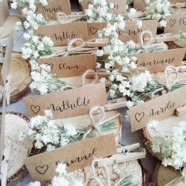 Marque-place mariage gypsophile