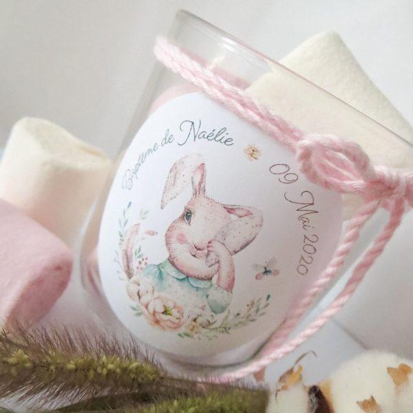 stickers baptême lapin