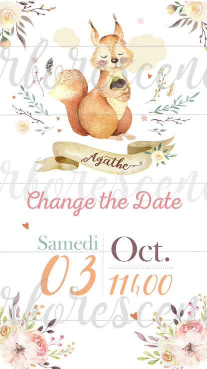 Change the date - faire-part baptême écureuil
