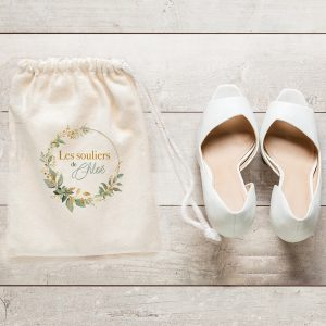 Sac à chaussures mariage Bouton d'Or