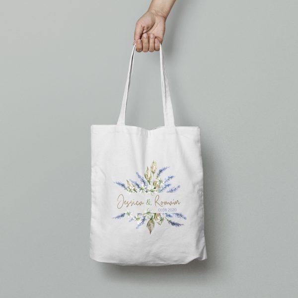 Tote bag mariage lavande