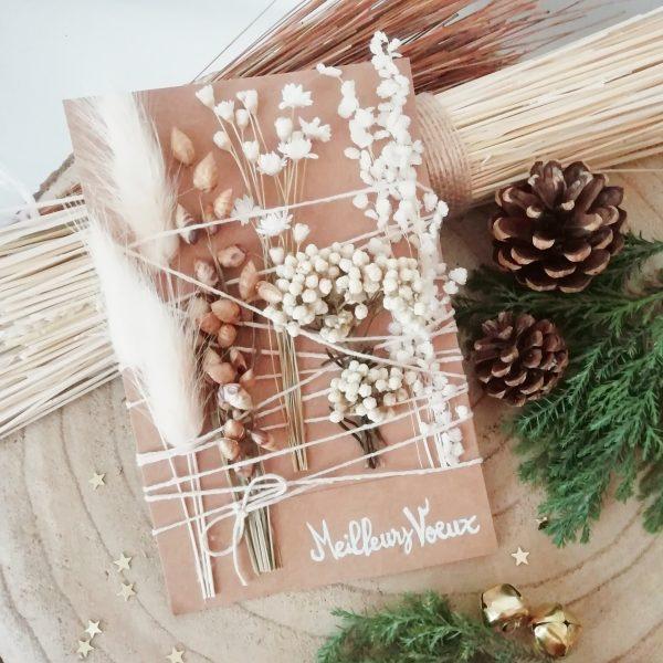 Carte fleurs séchées Meilleurs voeux