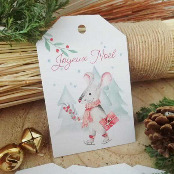 étiquettes de Noël souris