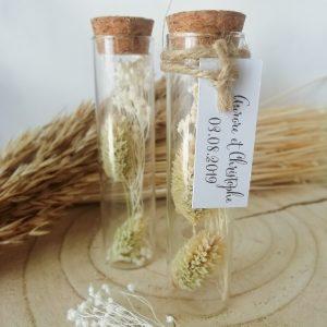 éprouvette fleurs séchées pour cadeau invités mariage