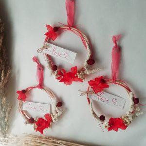 Mini couronne rouge de fleurs séchées