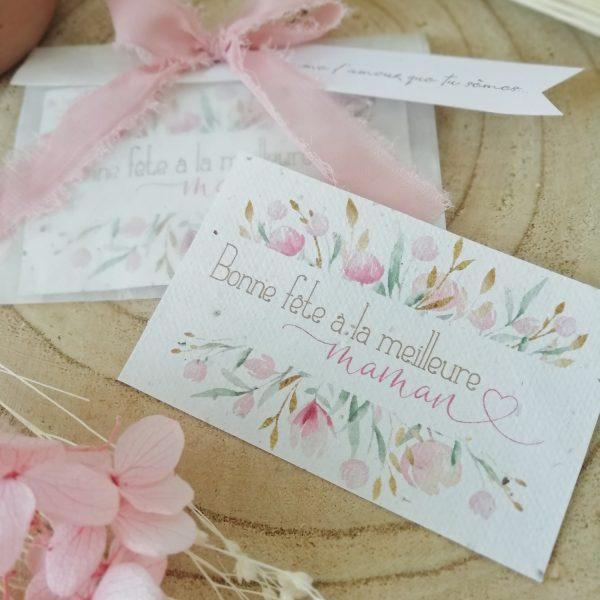 mini carte à planter Bonne fête Maman
