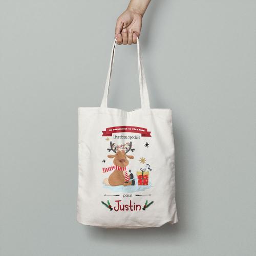 Tote bag Renne de Noël pour enfant